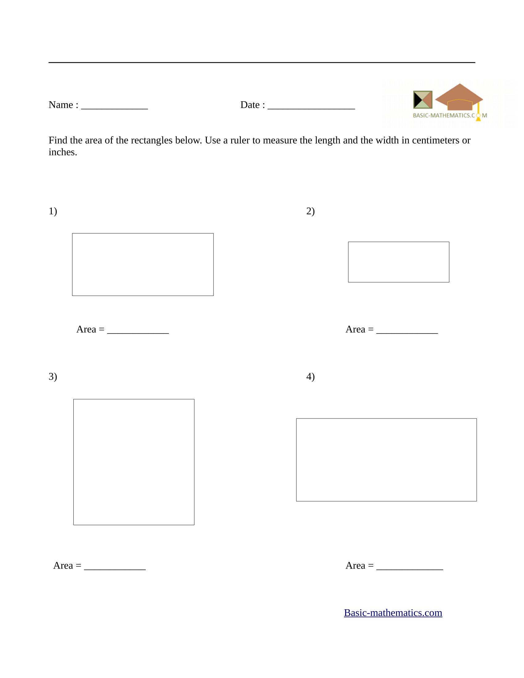Area of rectangles worksheet 5