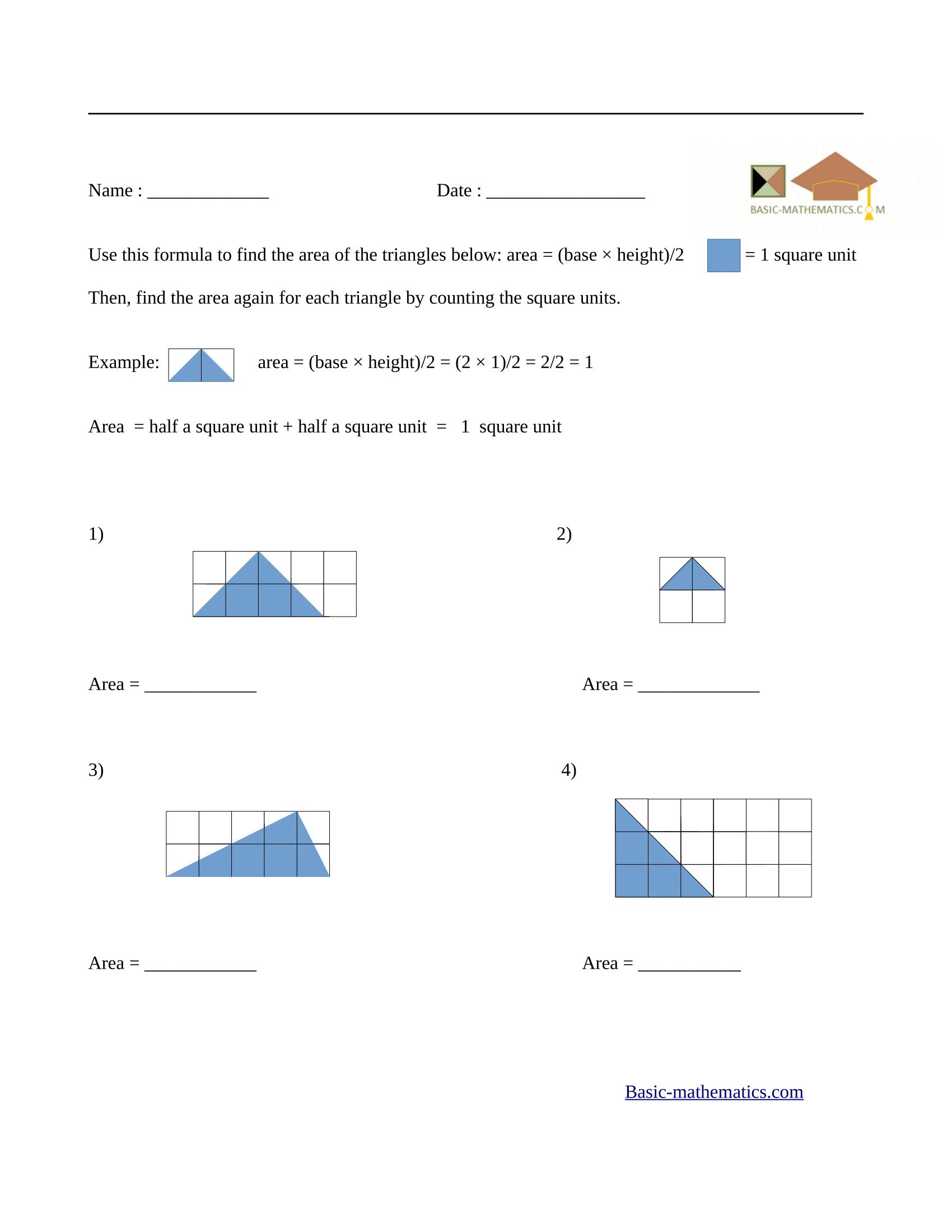 Area of rectangles worksheet 6