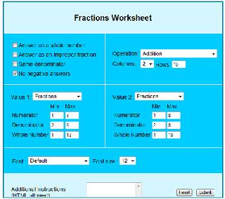 Fractions worksheets
