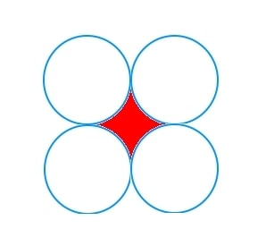 Area between four touching circles