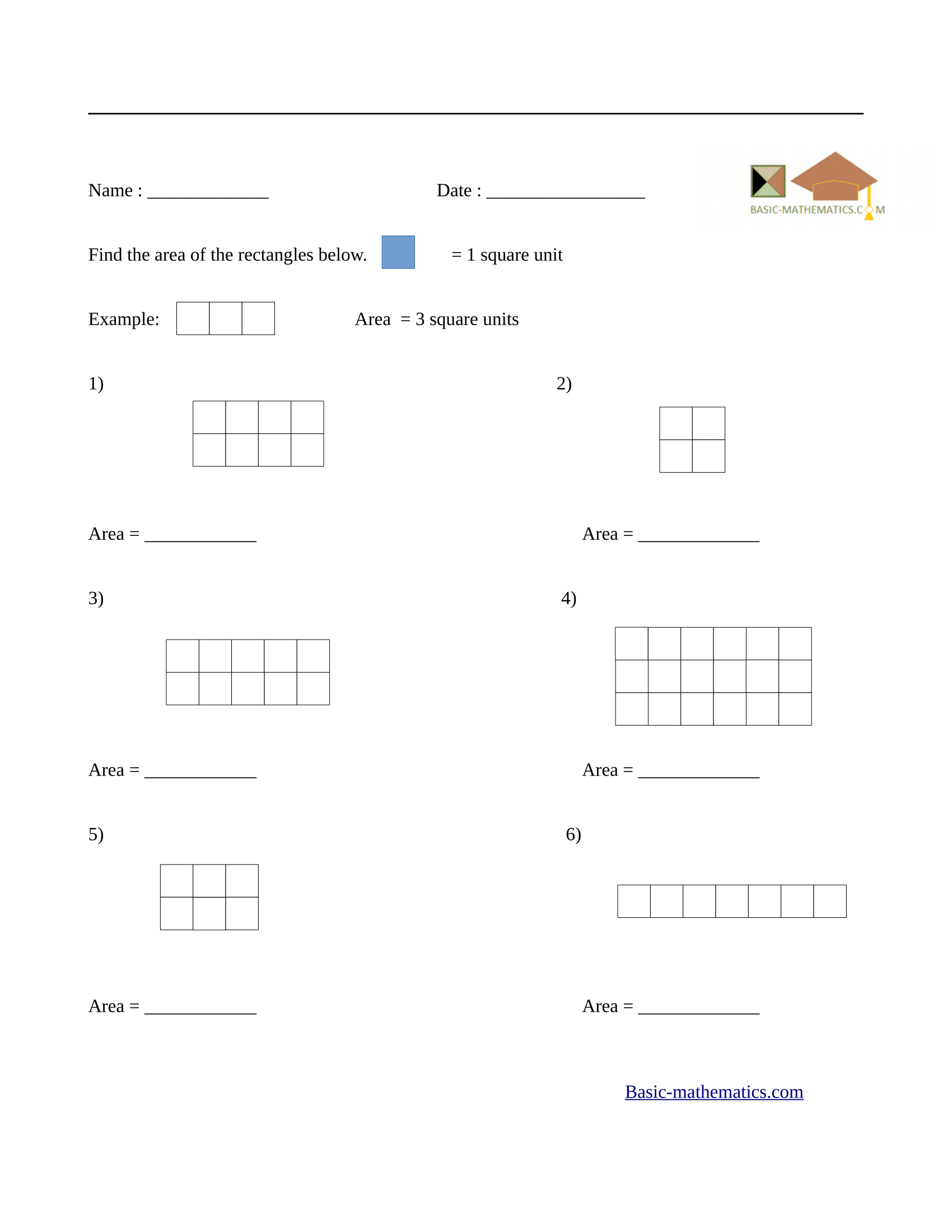 Area of rectangles worksheet 1