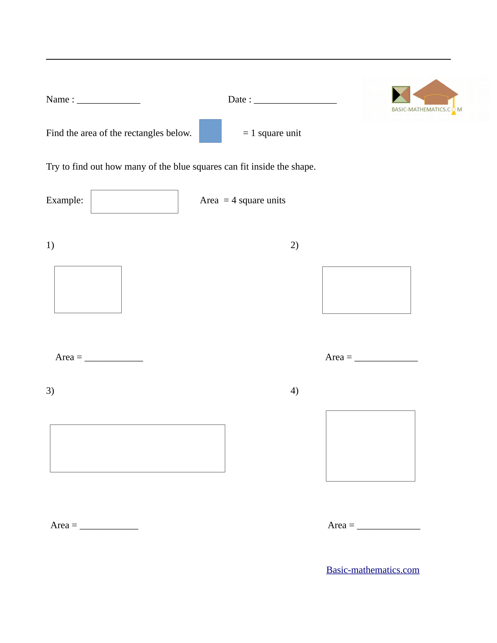 Area of rectangles worksheet 2
