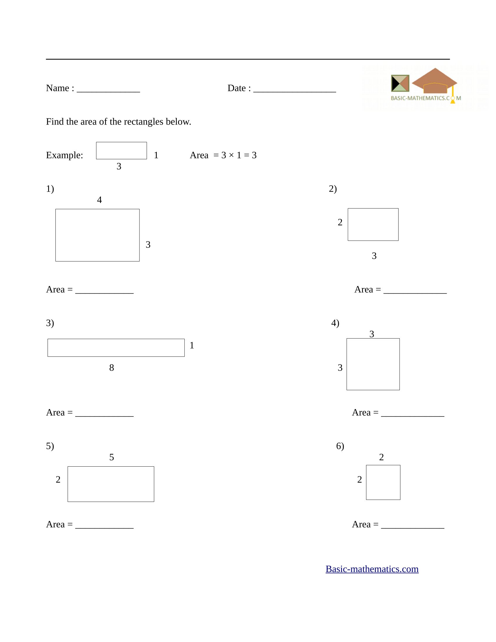 Area of rectangles worksheet 3