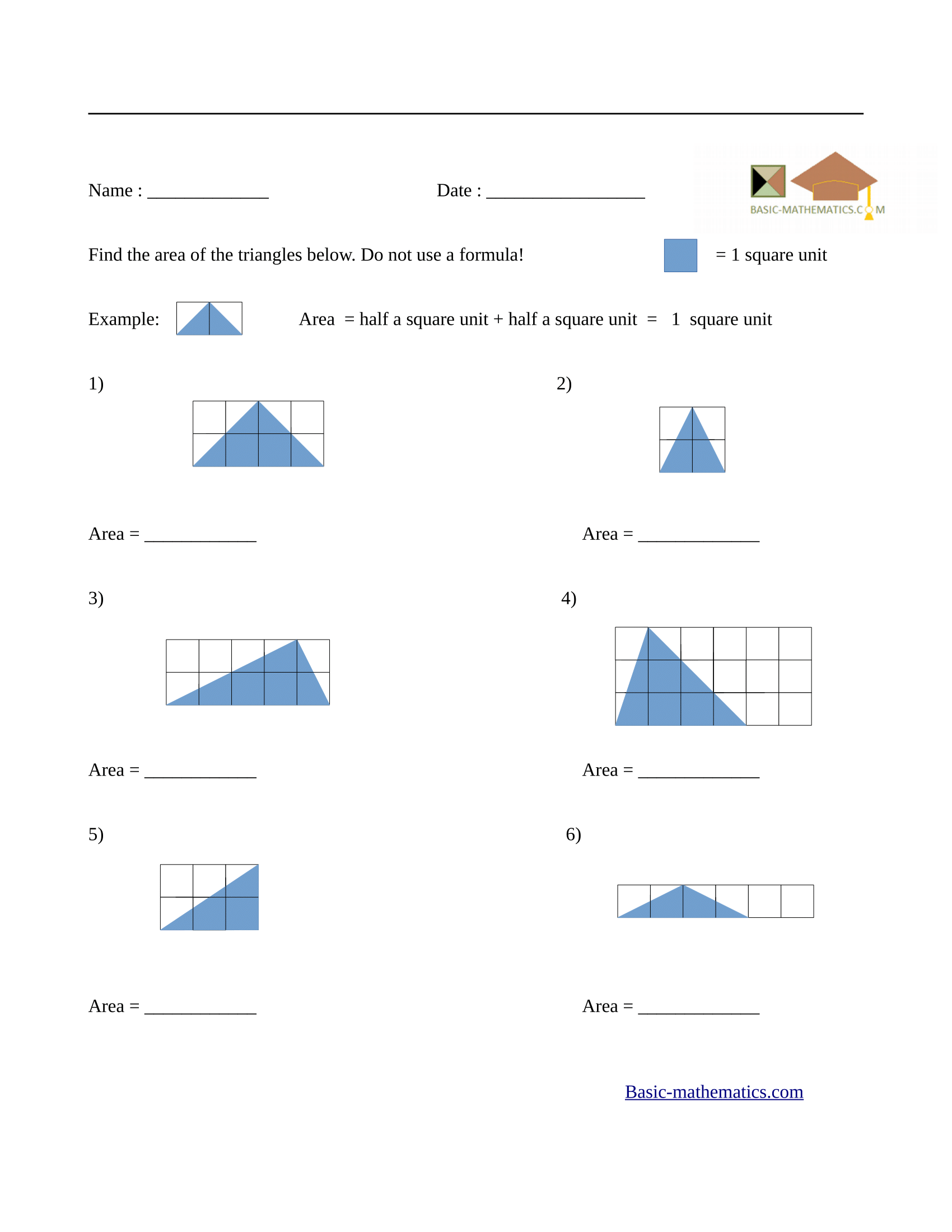 Area of rectangles worksheet 4