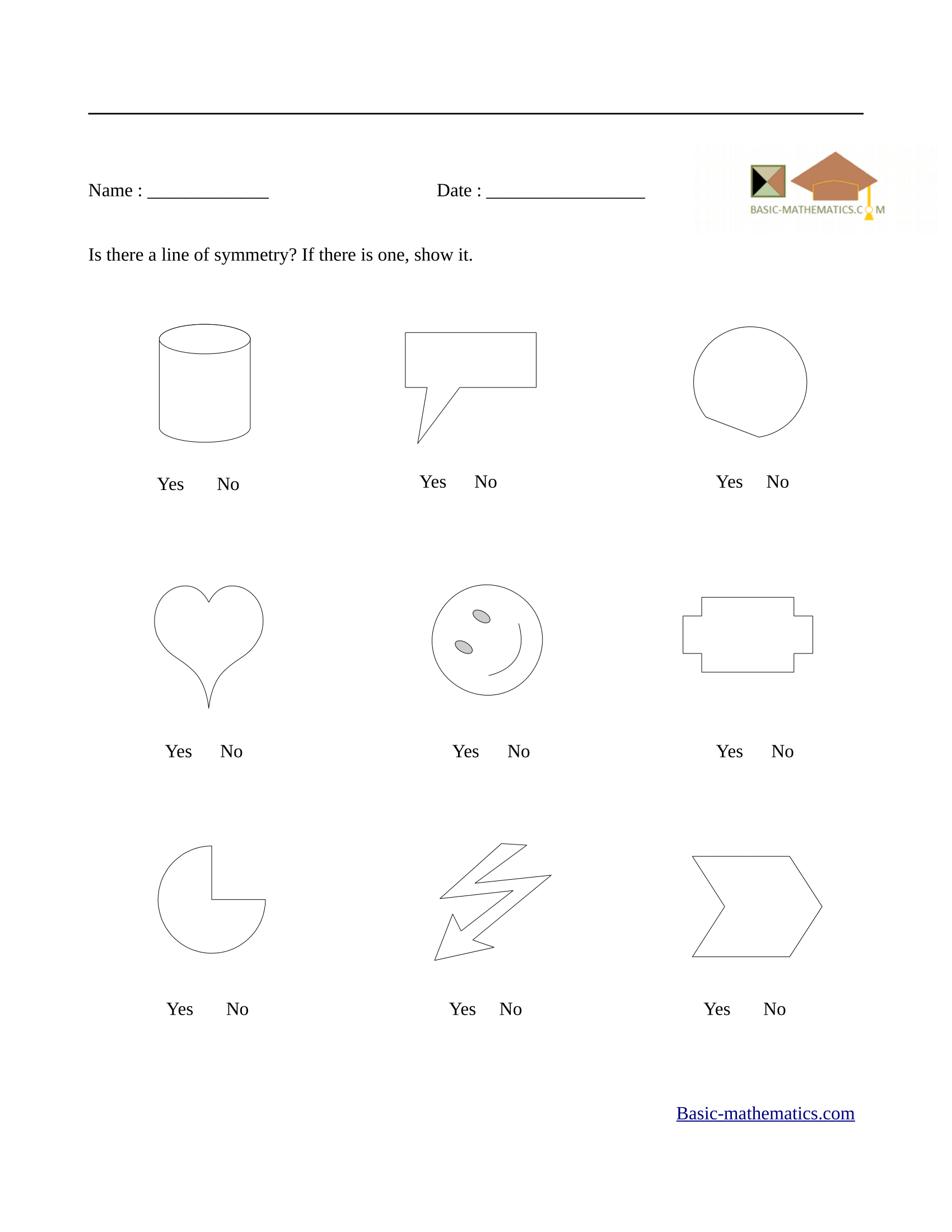 Lines of symmetry worksheet