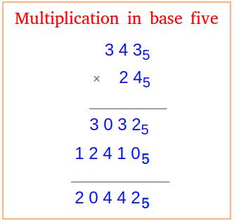 Multiplication in base five