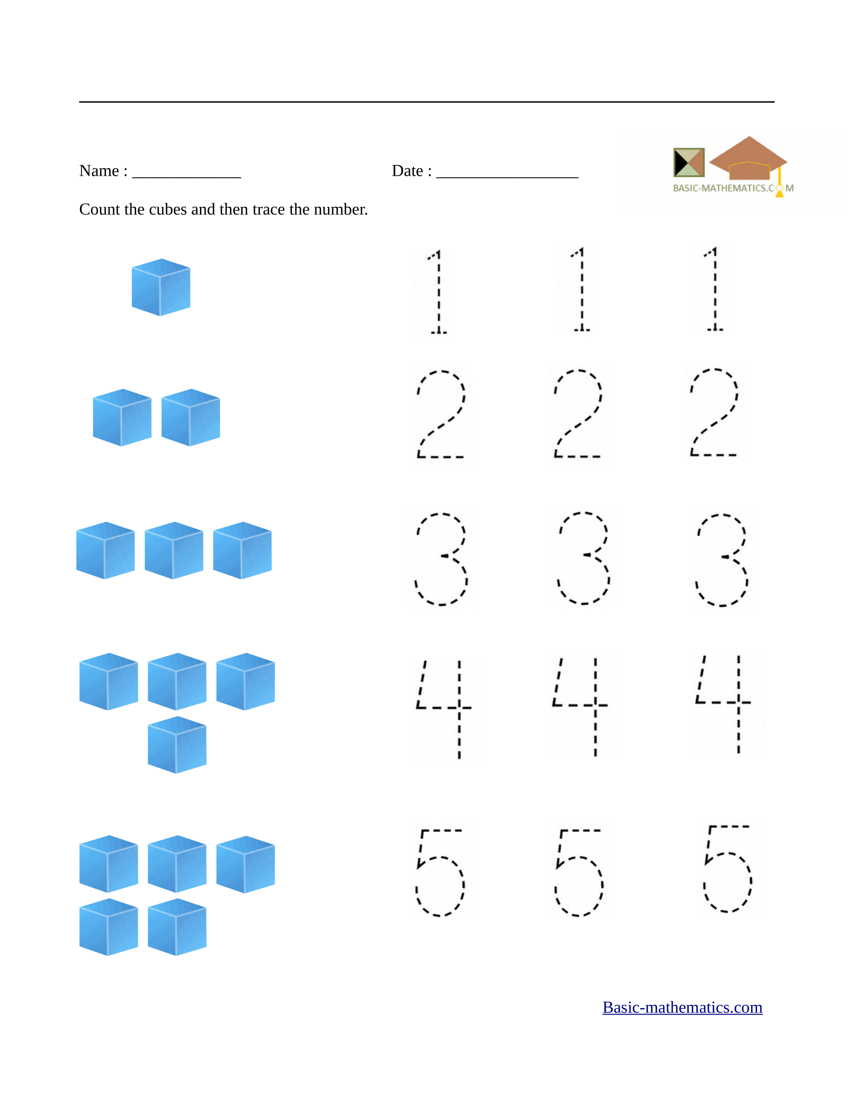 Math worksheets for kindergarten