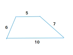 Trapezoid where the sides equals to 5, 6, 7, and 10