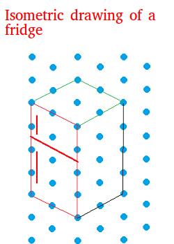 Isometric drawing of a fridge