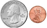 Quarter and penny
